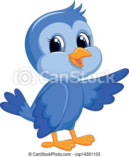 Cute blue bird cartoon - csp14301103