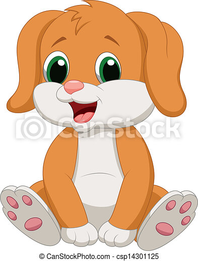 Cute baby dog cartoon - csp14301125