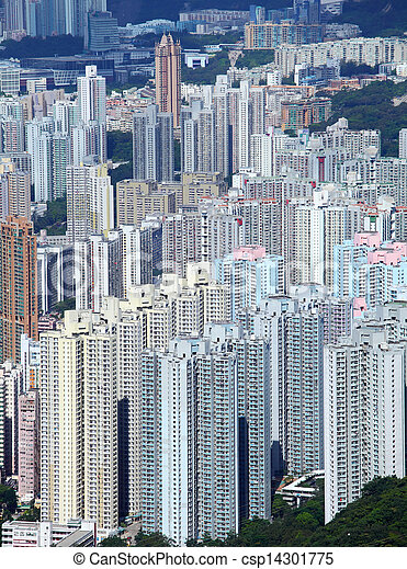 Residential building in Hong Kong  - csp14301775