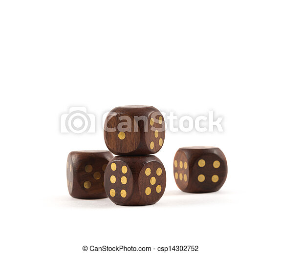 Gambling wooden dice isolated - csp14302752