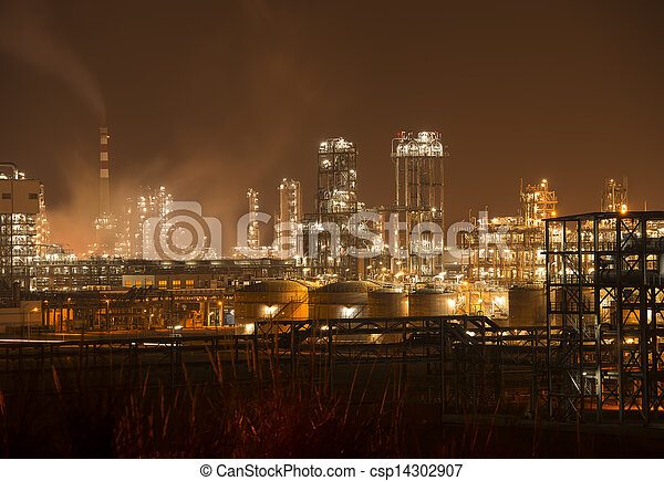 Refinery industrial plant with Industry boiler at night - csp14302907