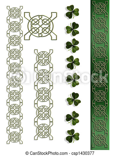 Clip Art of St Patricks Day Celtic Harp corner design illustration ...