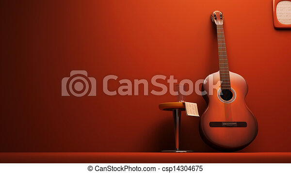 3D Classic Guitar on the wall - csp14304675