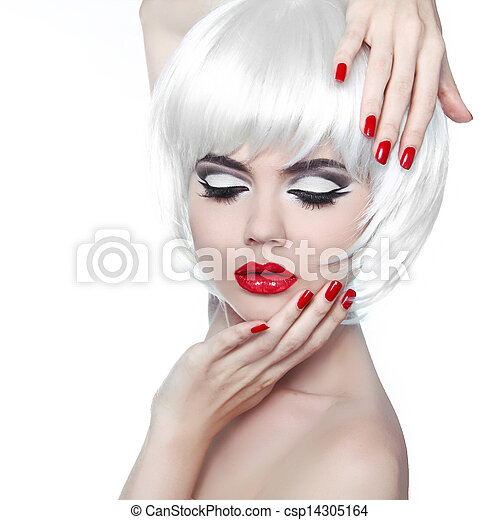 Makeup and Hairstyle. Red Lips and Manicured Nails. Fashion Beauty Girl isolated on white background. - csp14305164