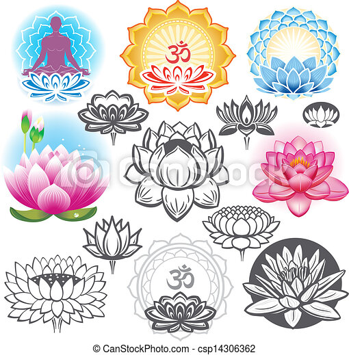 Set of lotuses and esoteric symbols - csp14306362