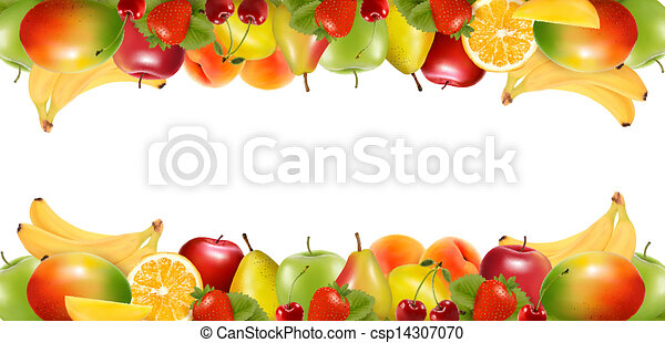 Two borders made of delicious ripe fruit. Vector.  - csp14307070