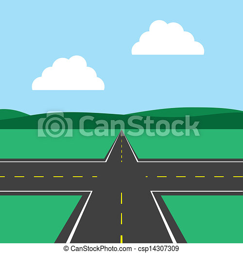 Vector Clipart of Road Intersection - Road intersection ... Y Intersection Sign