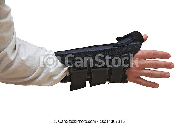 stock photography of wrist and thumb brace splint back view wrist and thumb csp14307315. Black Bedroom Furniture Sets. Home Design Ideas