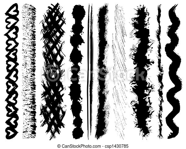 Set of grunge ink brush strokes - csp1430785