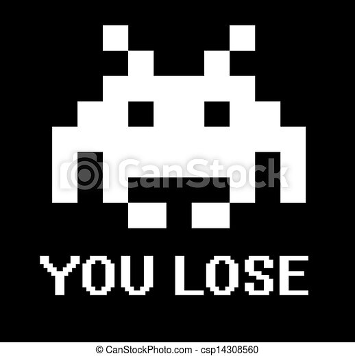 Stock Image of You lose space invader sign with black background ...