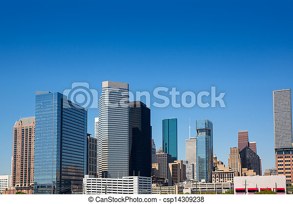 Houston downtown skyscrappers skyline on blue sky - csp14309238