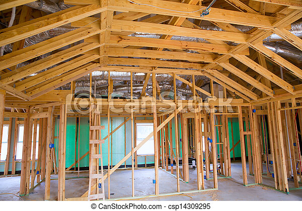 American residential wooden house contruction - csp14309295