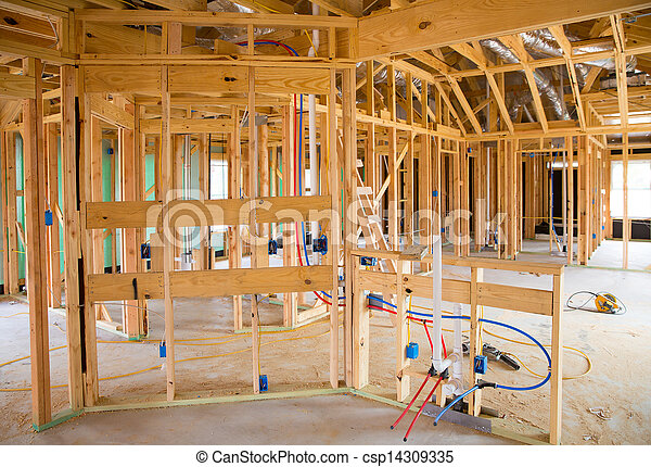 American residential wooden house contruction - csp14309335