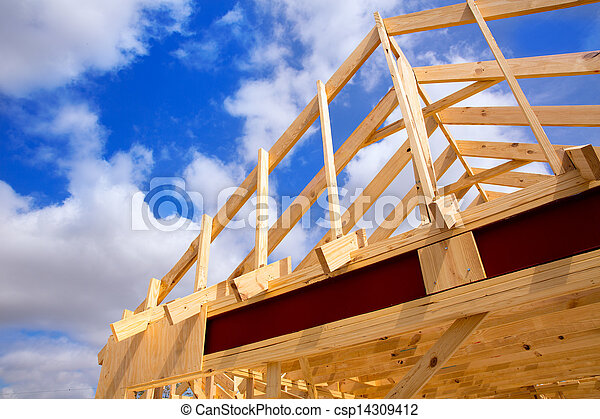 American residential wooden house contruction - csp14309412