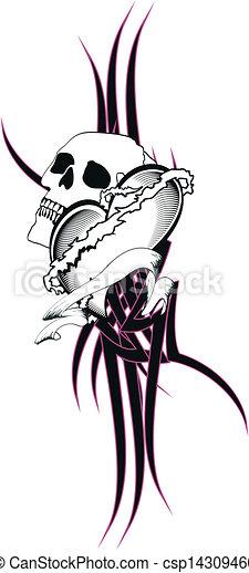 Clip Art Vecteur De Tribal Coeur Tatouage Tshirt8