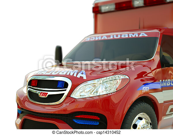 Ambulance: Closeup view of emergency services vehicle on white - csp14310452