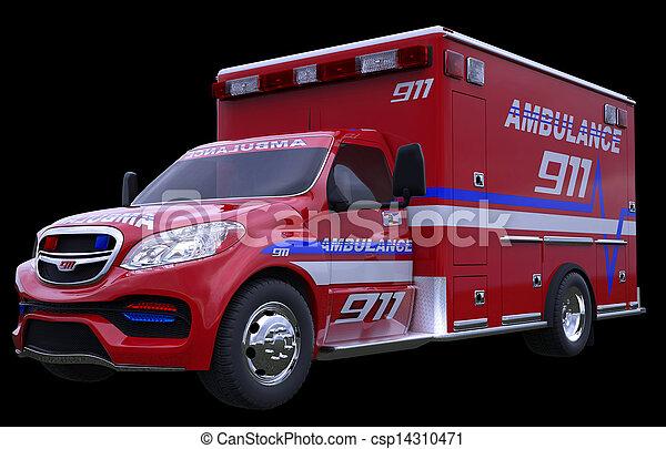 Emergency: ambulance vehicle isolated on black - csp14310471