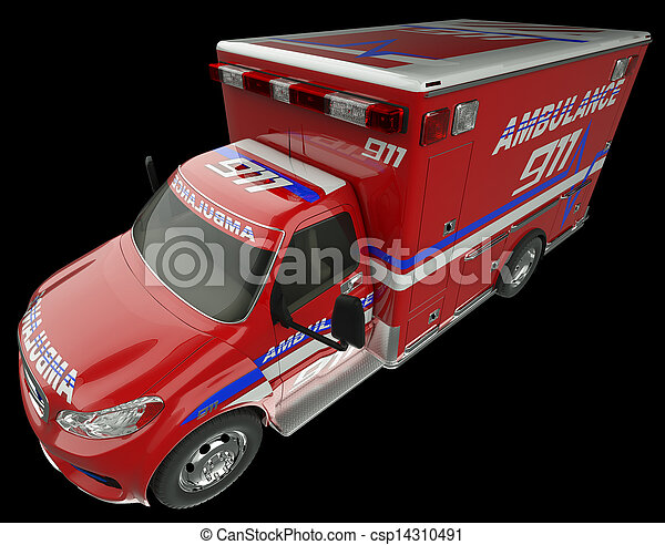 Ambulance: Top Side view of emergency services vehicle on black - csp14310491