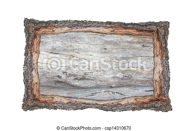 Picture frame wood cross section backgrounds bark and wood texture on white background - csp14310670