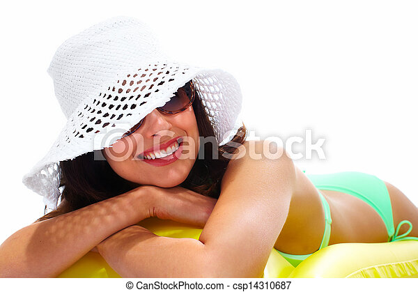 Woman wearing sunglasses and a hat. - csp14310687