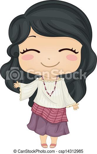 Little Filipina Girl Wearing National Costume Kimona - csp14312985