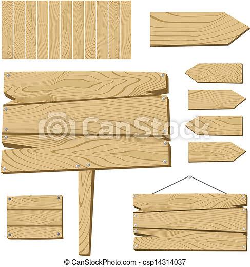 Vecteurs de bois objets planche signe ensemble de - Planche a dessin en bois ...