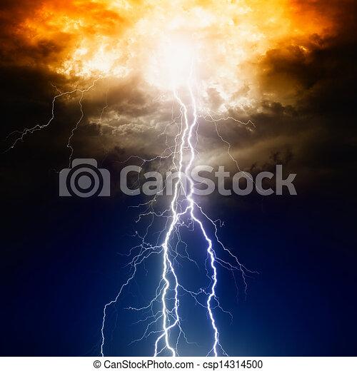 Lightnings in dark sky - csp14314500