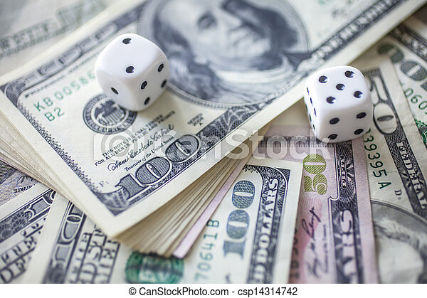 Money and dice for gambling - csp14314742