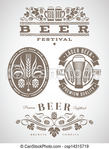 Beer emblems and labels - csp14315719