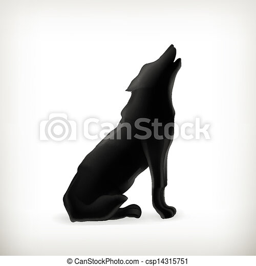 Wolf silhouette, vector - csp14315751