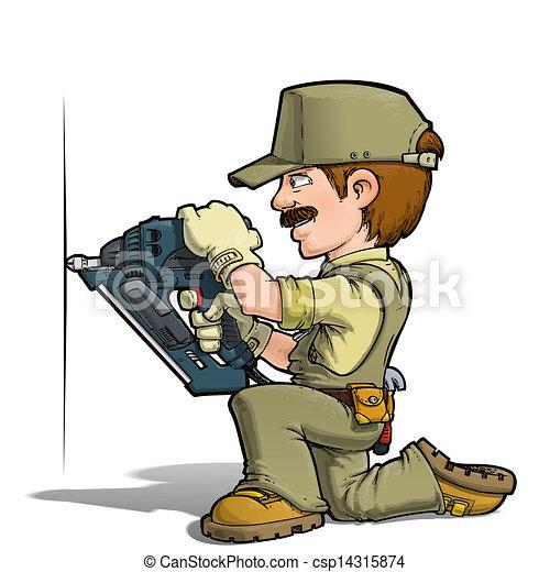 heimwerker, nageln, -, khaki - csp14315874