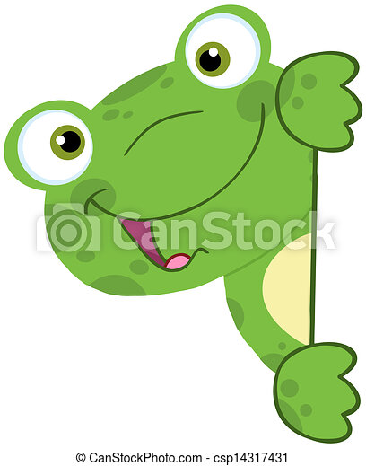 Vector - Cute Frog Smiling Behind Blank Sign - stock illustration ...
