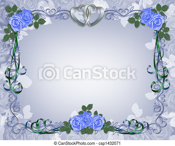 Clipart of Wedding Invitation Border blue rose - Image and ...