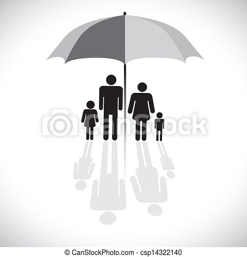 Concept vector graphic- family protection(insurance) & umbrella symbol. The graphic shows family of four(father, mother, son & daughter) with reflection in a sunshade icon. - csp14322140