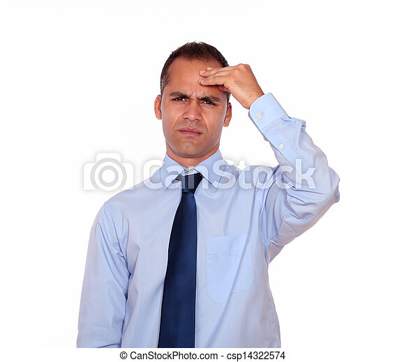 Adult man with headache holding his forehead - csp14322574
