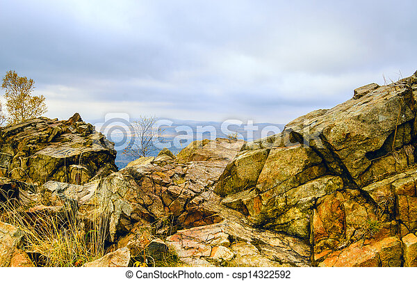 view from a cliff in the mountains - csp14322592
