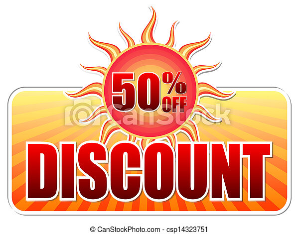 summer discount and 50 percentages off in label with sun - csp14323751
