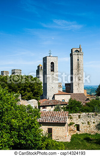 Towers of San Gimignano, Toscana landmark - csp14324193