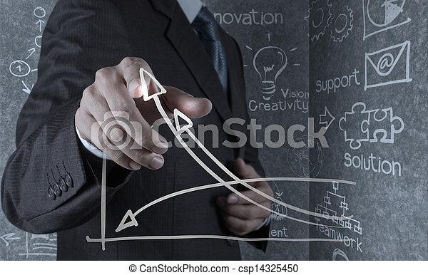 businessman hand draws business success chart - csp14325450