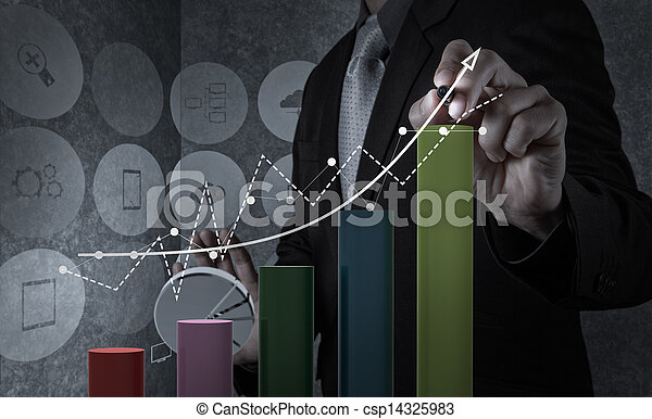 businessman hand working with new modern computer and business strategy as concept - csp14325983