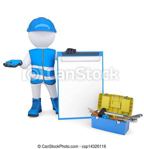 3d white man in overalls with checklists and tools - csp14326116