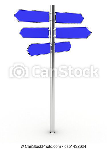 Blank direction signs on a metal column - csp1432624