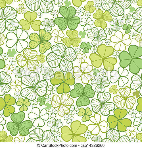 Clover line art seamless pattern background - csp14326260