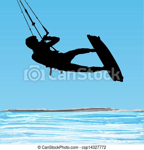 Kiteboarder aerial jump silhouette - csp14327772