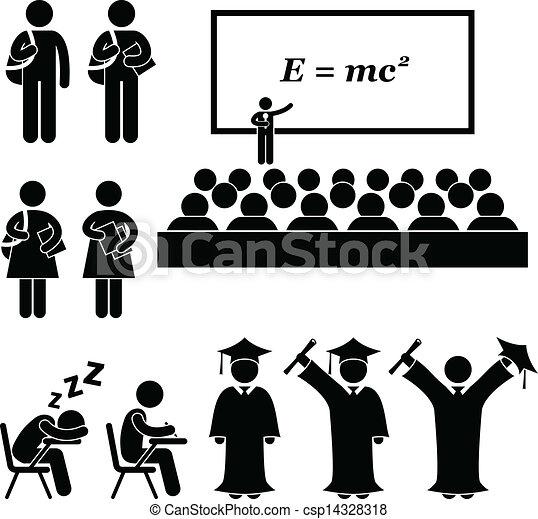 학생, 학교, 대학, 대학 - 이것, 은 이다, a, 세트, 의, 사람, pictograms, 그것 ...