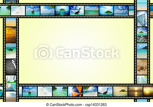 Film strip with beautiful holiday pictures - csp14331263