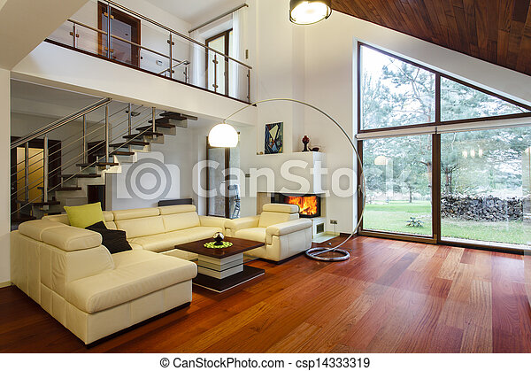 Designer\'s house with entresol and spacious living room