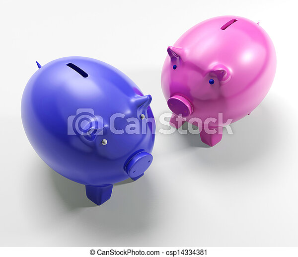 Two Pigs Shows Savings Banking And Money - csp14334381