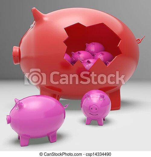 Piggybanks Inside Piggybank Showing Saving Accounts And Banking - csp14334490