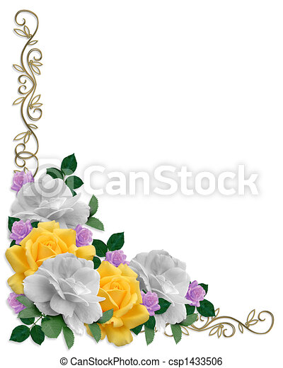 Roses Border Easter Colors - csp1433506